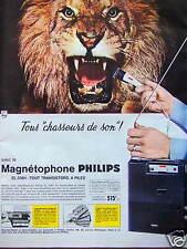 PUBLICITÉ MAGNÉTOPHONE PHILIPS TOUS CHASSEURS DE SONS - LION