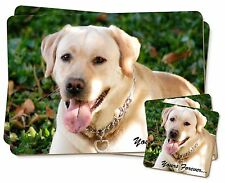 Yellow Labrador 'Yours Forever' Twin 2x Placemats+2x Coasters Set in , AD-L48YPC