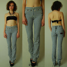 DOLCE & GABBANA RARE Railroad Stripe Runway Low Rise Corset Denim Sailor Pants
