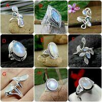 Moonstone Gemstone Handmade Designer Gift Ring Solid 925 Sterling Silver Jewelry