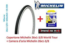 "Copertone + Camera d'aria Michelin 26x1-3/8 World Tour per Bici 26"" Graziella"