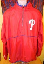 Men's Majestic MLB Philadelphia Phillies Long Sleeve Pullover Windbreaker Large