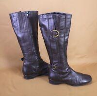 9S Canda Damen Stiefel Biker Boots Leder Gr. 37 dunkelbraun flach Schnallen