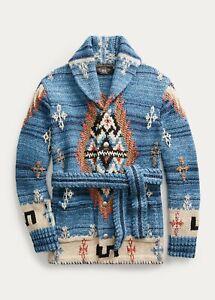 RRL Ralph Lauren Hand Knit Wool Blue Indigo Ranch Belt Cardigan Men's M Medium