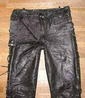 """ Celler "" Lace-Up Leather Jeans / Biker Trousers IN Black Approx. W35 ""/ L31 """