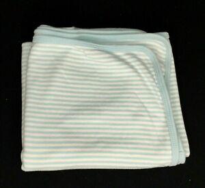 Carters Sky Blue White Stripe Baby Blanket Swaddle Cotton Jersey Stretch Knit
