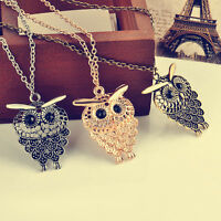Cute Owl Bronze Vintage Women Pendant Long Sweater Chain Necklace Jewelry Gift