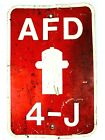 Vintage 1960's Fire Department Sign Fire Hydrant - A.F.D Asheboro NC  *Gar
