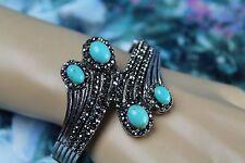 Boho Gypsy Burnished Silver w/ Marcasite & Large Turquoise Stones Cuff Bracelet
