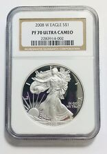 2008 Silver Dollar W Eagle NGC Graded PF70 Ultra Cameo Brown Label - Ships Fast