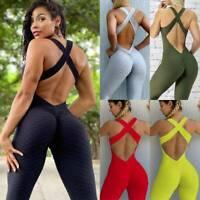 Women Anti Cellulite Yoga Jumpsuit Bodysuit Leggings Push Up Sports Gym Romper O