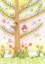 Spring Tree Bunny Flowers Owl-Handcrafted Fridge Magnet-W/Mary Engelbreit art
