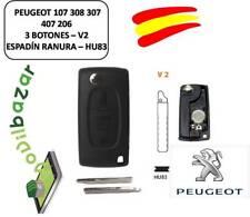 LLAVE CARCASA PEUGEOT 107 308 307 407 206 207 V2 HU83 - 3 BOTONES ESPADIN RANURA
