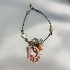 Christian Dior Bracelet Monogram Silver Pink Clear Authentic Beaded Hearts