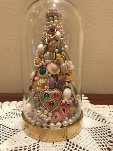 Vintage Jewelry 3-D Tree handcrafted, glass dome, multicolor tea light Christmas