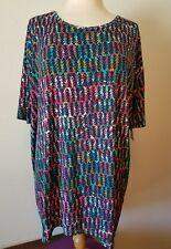 Ladies LuLaRoe Navy Multi Slinky Fabric Irma Top size M NWT