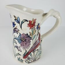 New listing Vintage Pottery Barn Iznik Large Pitcher Vase Crackled Crazed Bird Floral Braid