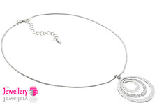 Silver Textured Circle Pendant on a snake chain necklace ladies womens gift