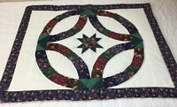 Patchwork Quilt Wall Hanging, Wedding Ring, Floral Calico Prints, Hand Quilted