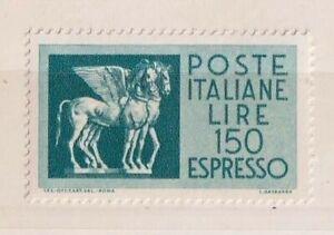 ITALIA REPUBBLICA 1968 espressi cavalli alati carta fluorescente lire 150 MNH