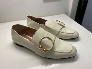 BALLY Malinda Bone Leather Gold Buckle Women Loafers 8 38