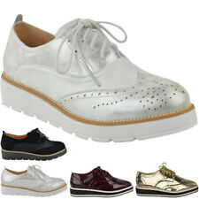 Womens Ladies Flat Loafers Creepers Chunky Sole Lace Up Smart School Shoes UK