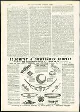1889 Antique Print ADVERTISING Goldsmiths & Silversmiths Jewellery (309)