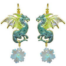Kirks Folly Dragon's Holiday Leverback Earrings goldtone