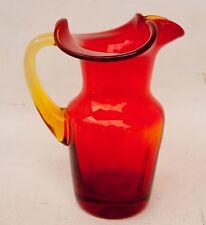 "Amberina Glass Pitcher Small 4.5"" Ruby Red Orange Creamer Hand Blown"