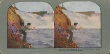 Coloured Vintage 3D Stereoview Card - Salmon Fishing at Spokane Falls