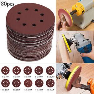 80pc 125mm Sanding Discs Pads 40-400 Mixed Orbital Sander Hook Loop Sand Paper