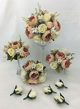 Hand-tied Light Coral Champagne Peony/Cream Rose Flowers Wedding Bouquet Set