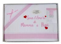 Lenzuola per culla//lettino 120x180 T /& R BABY strass e filè art 115 panna//rosa