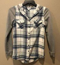 Full Tilt Junior's Gray/Blue Plaid Long Sleeve Button Front Hoodie Top Size M