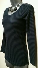 Size 6 Top H&M Black Blue Striped Long Sleeved Fitted Stretch Woman's Casual