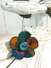 Brooch flower pin handmade Irish tweed jacket pin - boho orange blue wool  new