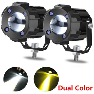 1.8in White/Yellow Dual Color 60W Mini LED Projector Lens Driving Fog Light Kit