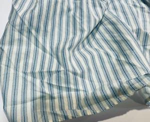 LAURA ASHLEY Vintage Blue & White Stripe Ticking Queen Bedskirt Split Corners