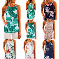 Women Sleeveless Floral Printed Tank Top Casual Blouse Vest Folk Style Shirt