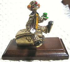Judy Talbot Little Hobo Figurine, 24kt Gold Plate-Hand Painted, Wood Base, 1988