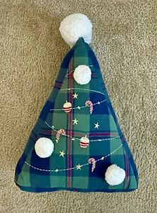 """POTTERY BARN KIDS Christmas Tree Shaped Pillow Green Plaid Embroidered 19""""T NWT"""