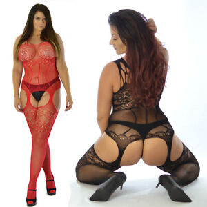 True To Size UK 8-24 Sexy Black Lace Mesh Crotchless Full Body Stocking Lingerie