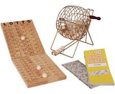 BINGO-SPIEL Bingospiel Lotto viel Zubehör 15 aus 90 Holz Metallkorb Tombola NEU