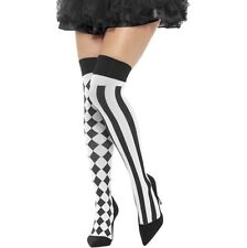 Ladies Harlequin Hold Up Stockings Fancy Dress Hold Ups White/Black by Smiffys