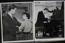 "2 VINTAGE 8""X10"" ORIGINAL PHOTO MGM RHAPSODY ELIZABETH TAYLOR JOHN ERICSON PIANO"
