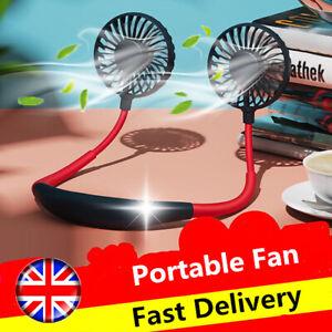 Rechargeable LED Lazy Neck Fan Portable Mini USB Neckband Hanging Dual Cooler UK