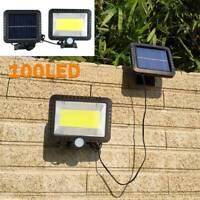 100 LED Garden Wall Lights Solar Powered PIR Motion Sensor Outdoor Flood Lamp