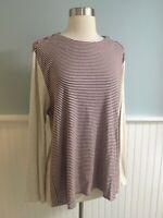 Size XL J Jill Perfect Pima Burgundy Beige Striped Tunic Top Shirt Extra Large