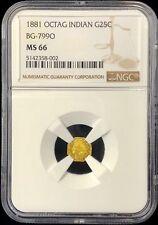 1881 California Fractional Gold Octagonal Indian 25c BG-799O NGC MS 66