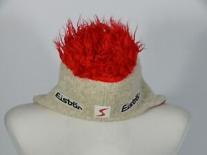 Eisbar unisex beige and red winter ski funky hairy ear flaps cocker hat